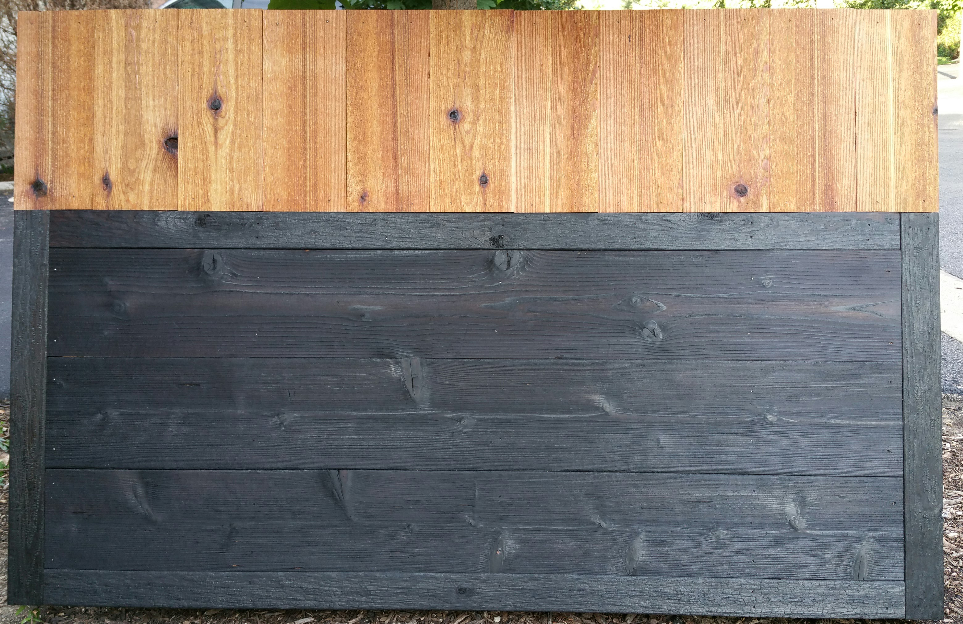 charred cedar sample board with natural