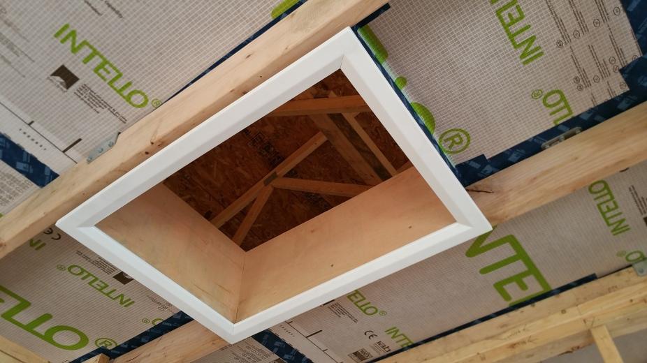 looking up into battic attic hatch