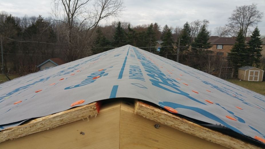 synthetic underlayment at roof peak