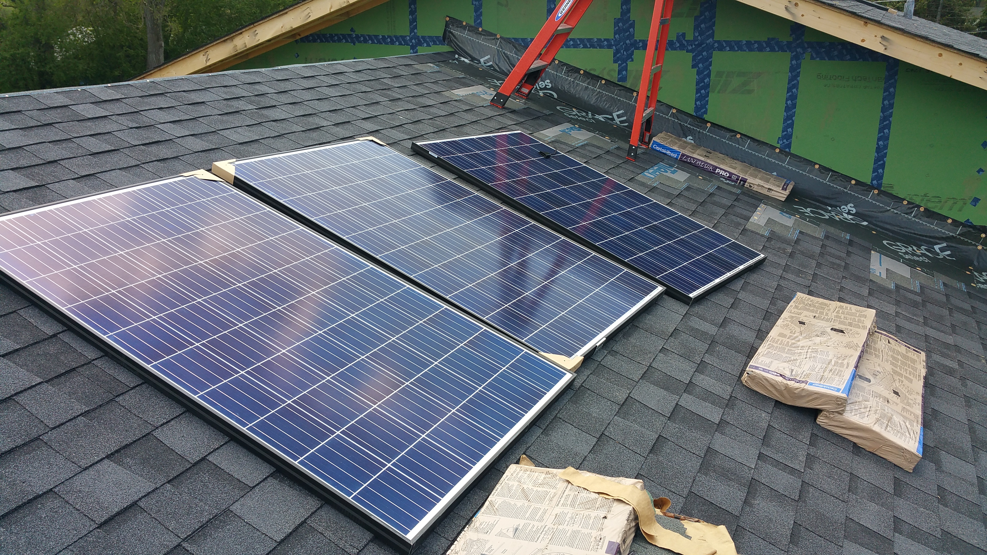 laying out the solar panels pre-install