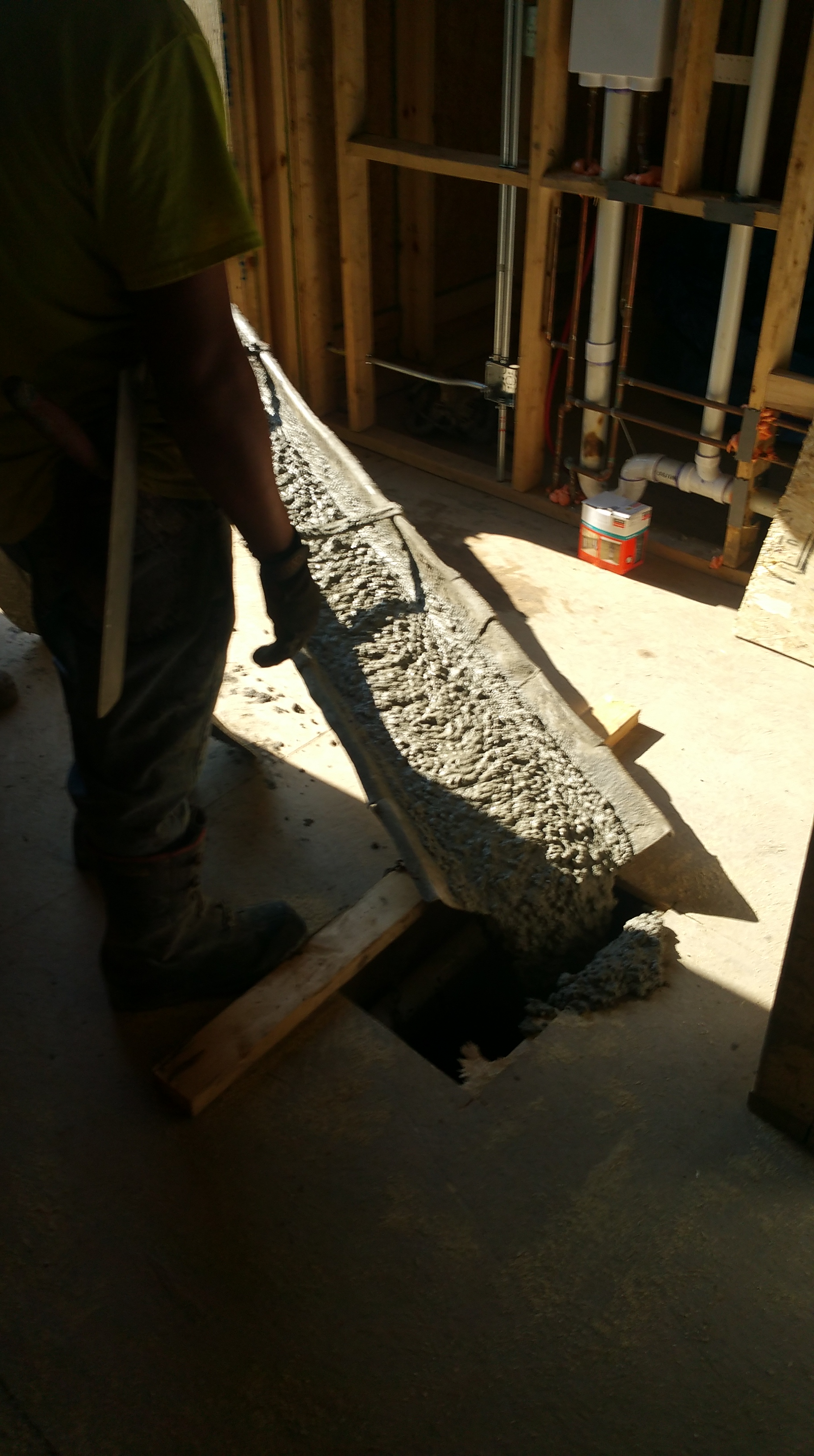 concrete going thru floor
