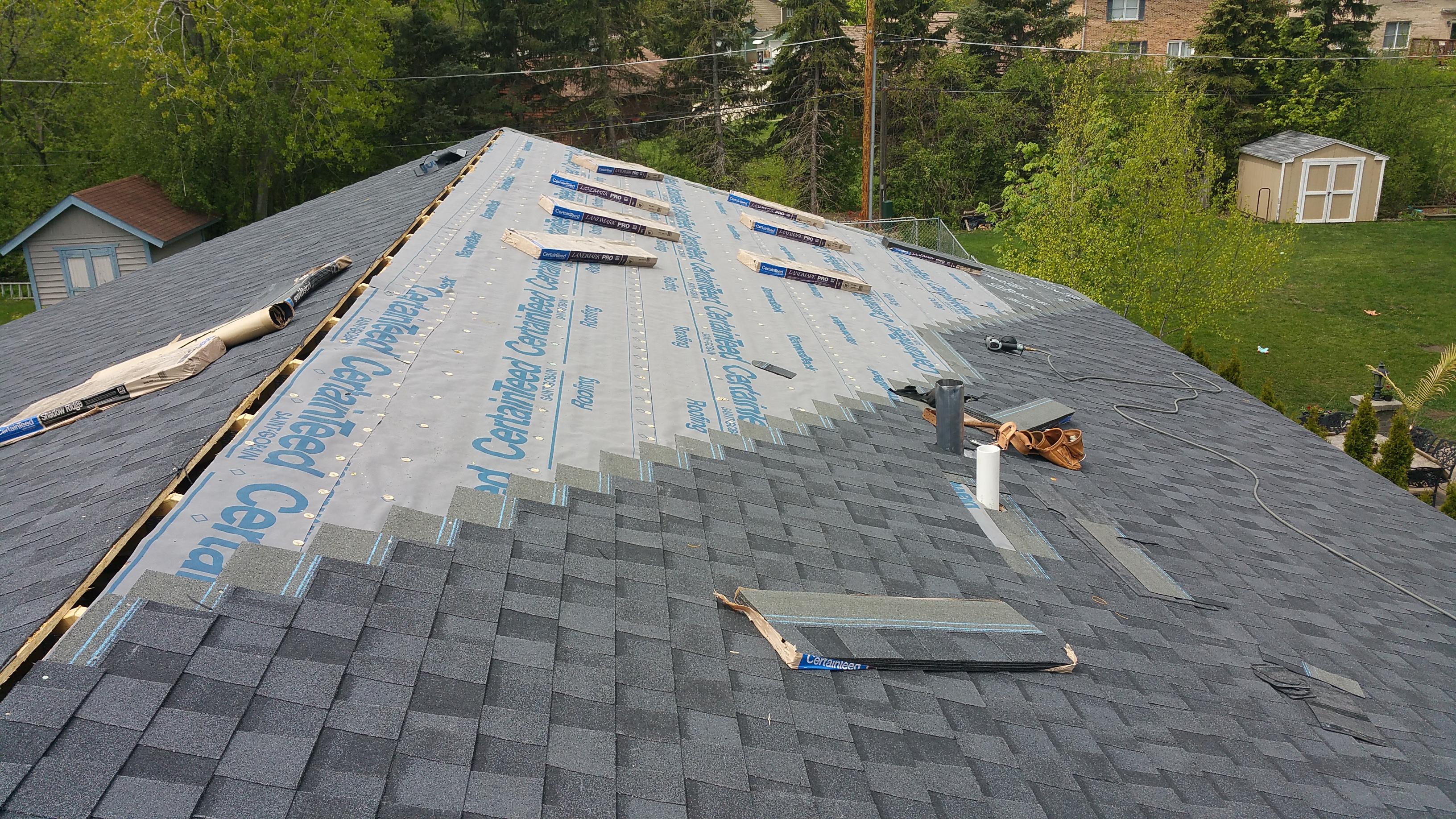 shingle installation progressing