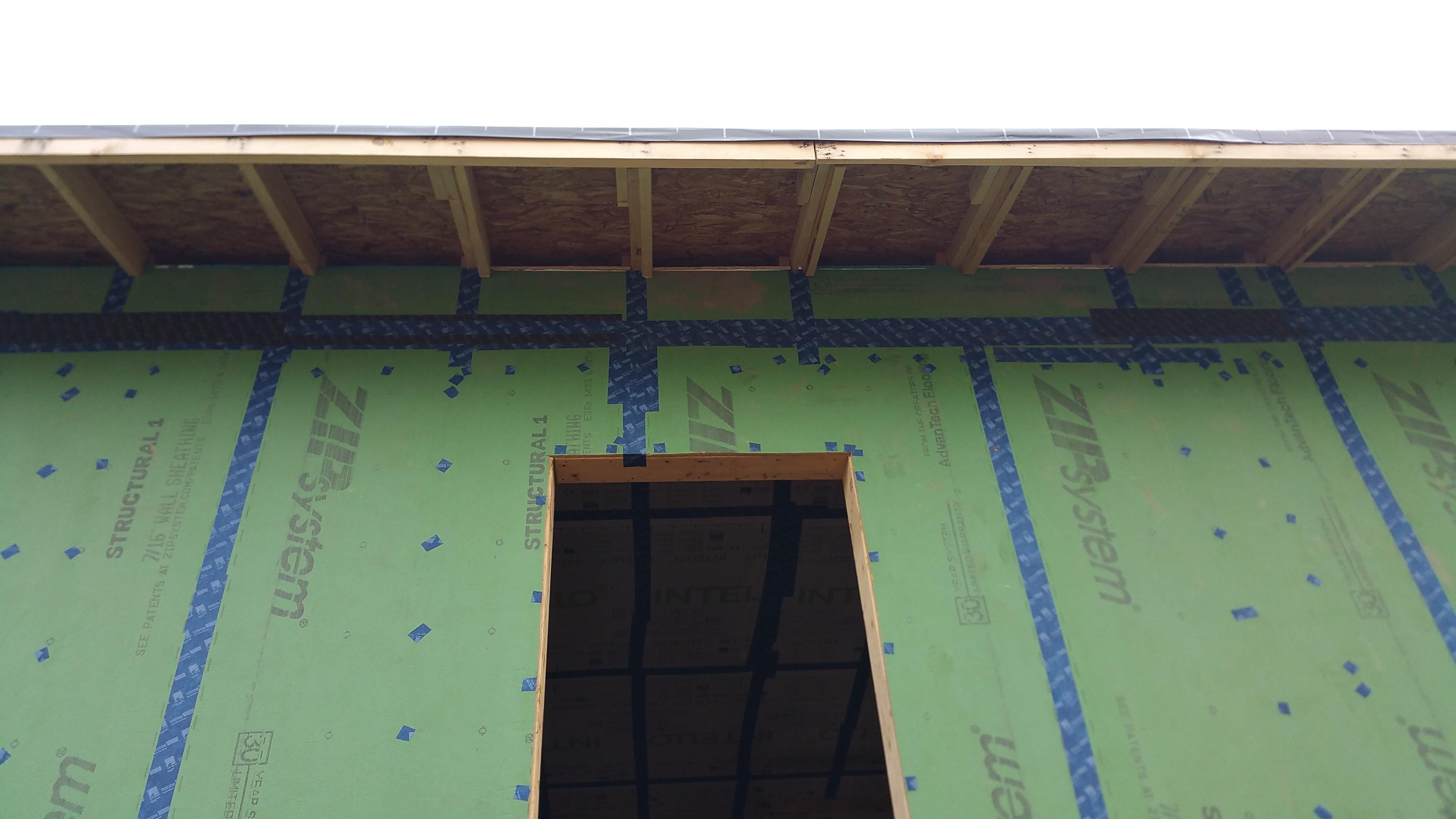 view of top row of Zip sheathing 1