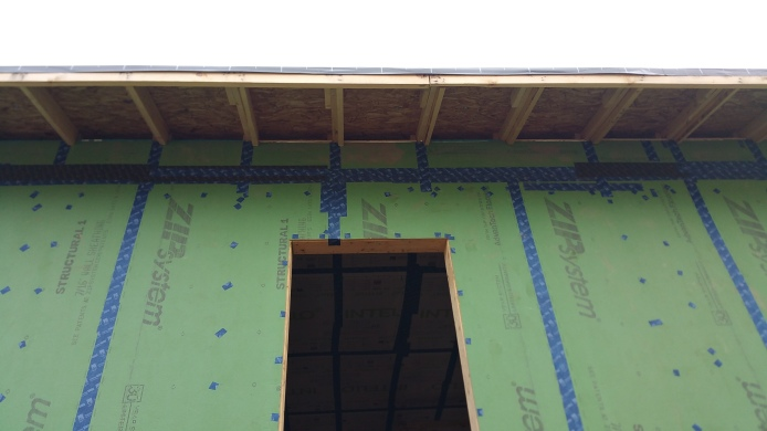 view of top row of Zip sheathing 1