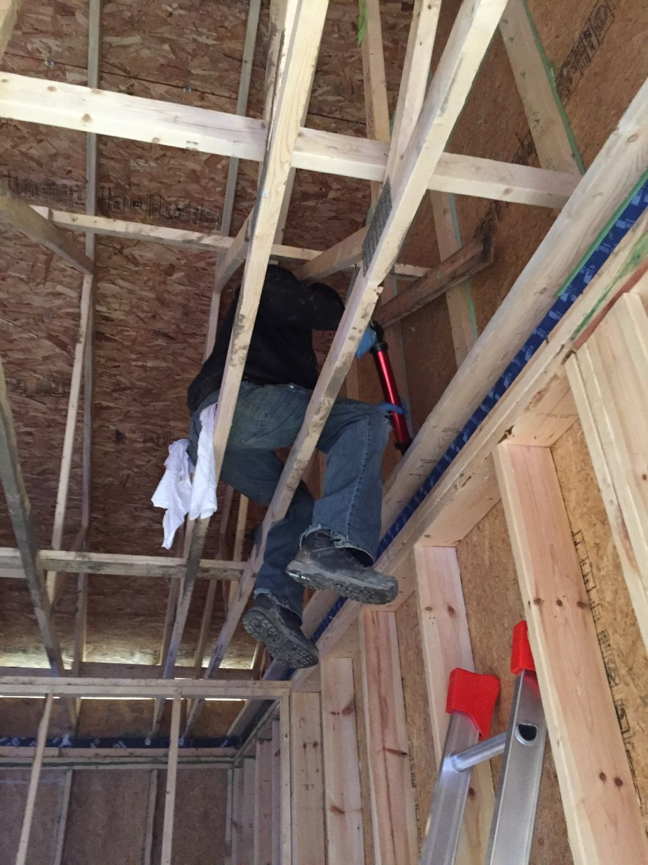 sitting on roof trusses sealing